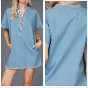 Light Denim Laced Dress